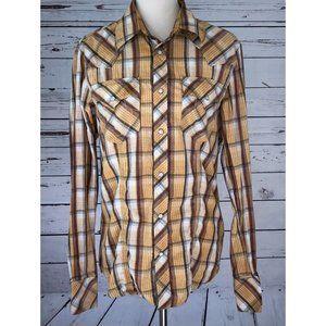 True Religion Pearl Snap Plaid Shirt Medium L/S